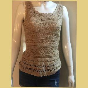 Tan color sleeveless tops; crocheted, inner sheer